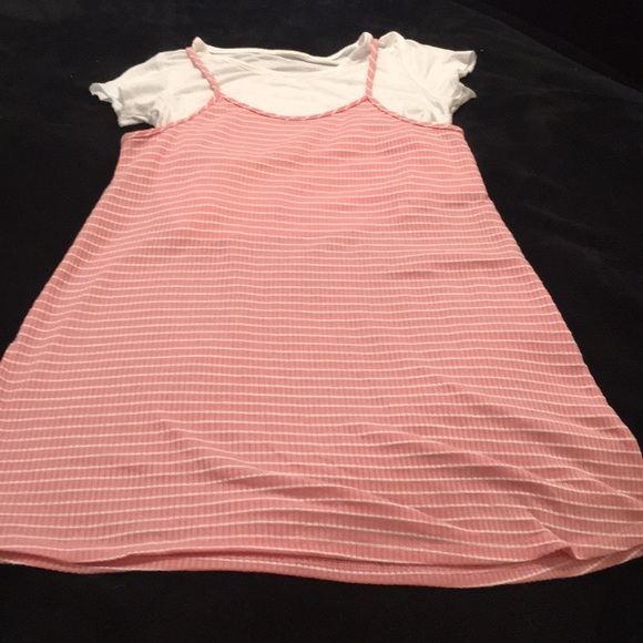 unknown Other - Girls size 7 striped spaghetti strap/t-shirt dress
